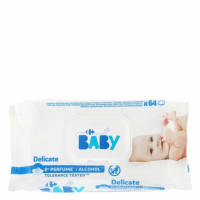 Toallitas bebe piel atopica CARREFOUR BABY 63 ud.